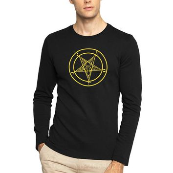 PENTAGRAMS GOTHICS OCCULT SATAN new men's printed fashion cotton Long-sleeve Round collar O neck T-shirt Tops Clothes Tees