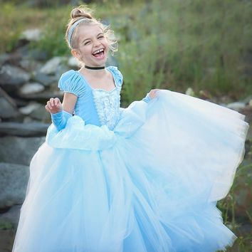 2017 long ball gowns children role-play costume princess cinderella girls dress up costumes Party Vestidos Free oversleeves