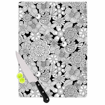 """Julia Grifol """"Welcome White Birds"""" Black Floral Cutting Board"""