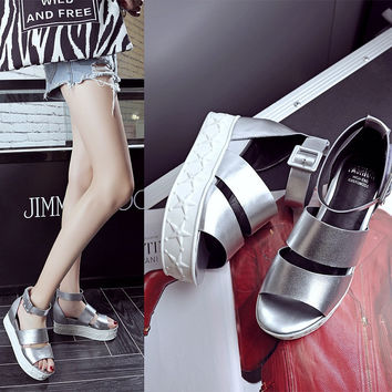 Design Stylish Summer Peep Toe Height Increase Platform Roman Shoes Ring Leather Sandals [6050216641]