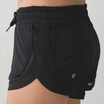 Kalete Lululemon Fashion Women Simple Drawstring Gym Yoga Sport Shorts Black I