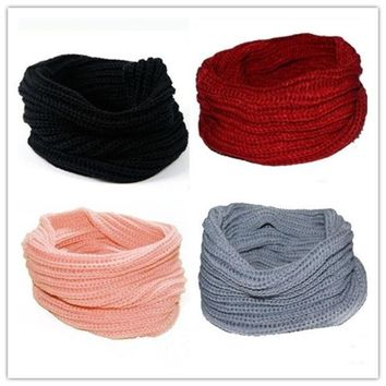ONETOW New Womens Mens Winter Warm Infinity 1 Circle Cable Knit Cowl Neck Scarf Shawl = 1946397764