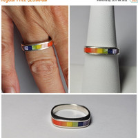 ON SALE Vintage CHARLES Winston 925 Silver & Mop Inlaid Ring, Multicolor, Band, Chunky, Size 8, Rainbow of Colors! #b082