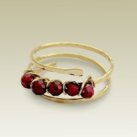 14K gold filled wrapped with garnet beads ring by artisanfield