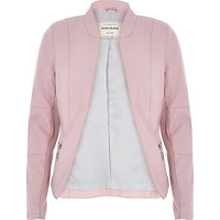 River Island Womens Pale pink leather-look fitted jacket