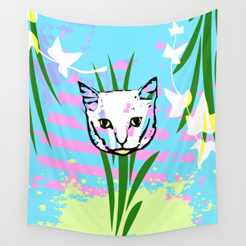 Kitty Grass Wall Tapestry by Barbara Gelman