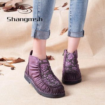 Shangmsh 2017 Handmade Boots For Women Warm Velvet Genuine Leather Ankle Shoes Vintage
