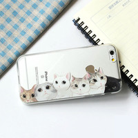 2016 Cute Vintage Cat Meow Girls Brand Printed Soft Phone Case Cover For iPhone 7Plus 7 6Plus 6 S 5 S SE 5C 4 4S Samsung Galaxy