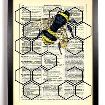 Geometric Honeycomb With Honey Bee Dictionary Book Print Upcycled Book Art Upcycled Vintage Book Print Antique Dictionary Buy 2 Get 1 FREE