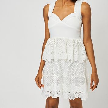 Cream Crochet Detail Peplum Dress