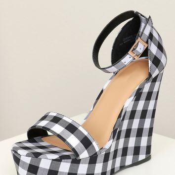 Two Strap Chunky Platform Wedge Black/ Gingham