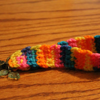 Crocheted Bright Colorful Keychain Wristlet with Charms