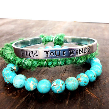 stacking bracelet set emerald green wrap bracelet, turquoise bracelet stamped bracelet - gift for her