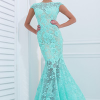 Long Lace Mermaid Gown with Cap Sleeves