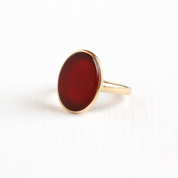 Vintage 14k Yellow Gold Carnelian Ring - Art Deco 1930s Red Oval Gemstone Size 6 1/2 Fine Statement Jewelry Hallmarked Church and Company