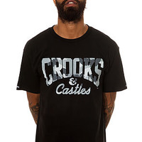 Crooks and Castles The Camo Core Logo Tee in Black