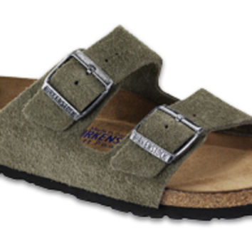 Arizona Soft Footbed Olive Suede Sandals | Birkenstock USA Official Site