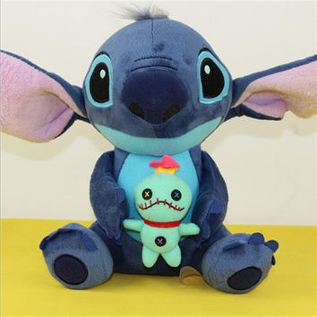 1pcs New Arrival Lilo Stitch holding SCRUMP 24cm 9.6'' Soft Stuffed Plush Doll Toy Loose New