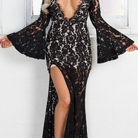 Midnight Magic Black Eyelash Lace Long Bell Sleeve Plunge V Open Back Thigh Slit Maxi Dress