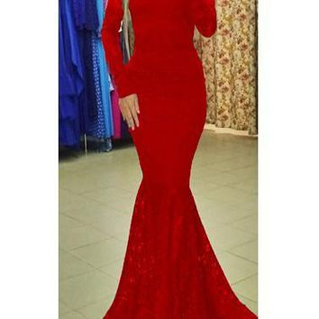 Red Lace Backless Mermaid Big Swing Long Sleeve Banquet Elegant Party Maxi Dress