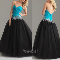 Amazing A-line Mix-color Sleeveless Long Prom Dress / Ball Gown With Sequins, Beads