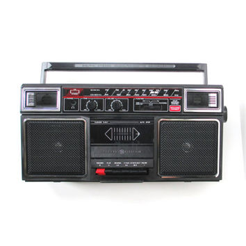 Vintage Boombox Cassette Tape Player and Radio
