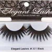 Elegant Lashes #301 Thick Long Black Human Hair False Eyelashes Drag Halloween Dance Rave Costume