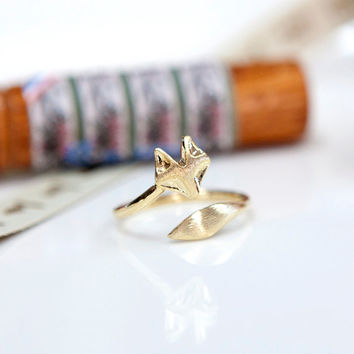 Fox ring, Adjustable ring, Animal ring