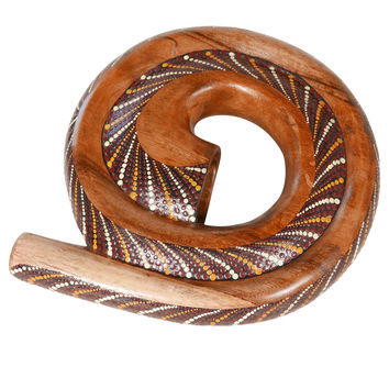 Decorative Aboriginal Spiral Didgeridoo Horn, Painted