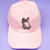 Praying Hands With Rose Cap | Pink