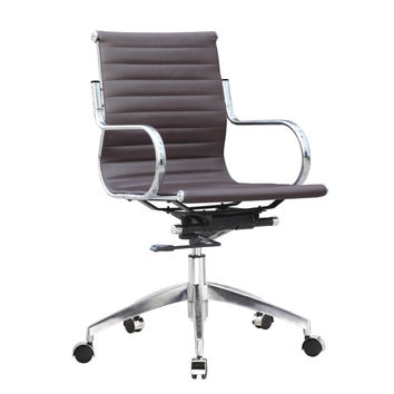 Twist Office Chair Mid Back, Dark Brown Eco Leather