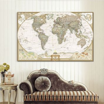Unframed  Wall Art The World Map Painting on Canvas Prints Vintage Map Picture for Living Room Study Office Decor