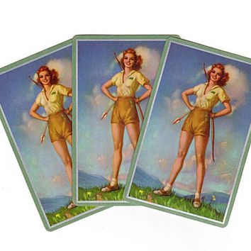 Vintage 1940s Pin Up Girl Playing Cards Lot of 3 Bow and Arrow