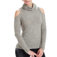 Olive Grey Turtle Neck Cold Shoulder Top