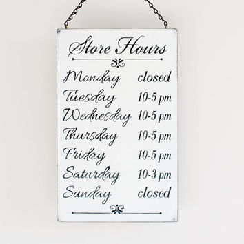 Business Hours Sign, Store Hours Sign, Boutique Sign, Store Hour Sign, Custom Business Sign
