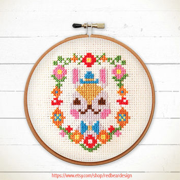 Kawaii Cross Stitch pattern PDF - Mr Bunny Floral Portrait -xstitch Instant download - Happy Woodland rabbit Modern Funny cross stitch