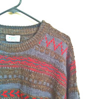 UNITED COLORS of BENETTON / Vintage Wool Cosby Sweater / Made in Italy Men's Xlarge