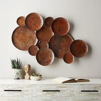 Abstract Metal Pebble Wall Art