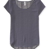 Aeropostale Sheer Chiffon Lace-Back Top