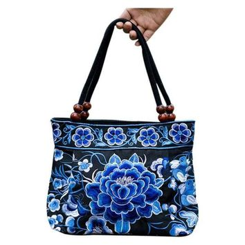 Chinese Style Women Handbag Embroidery Ethnic Summer Fashion Handmade Flowers Ladies Tote Shoulder Bags Cross-body