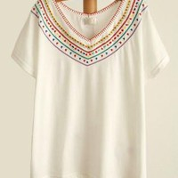 Bohemian Embroidery Batwing T-shirt For Her
