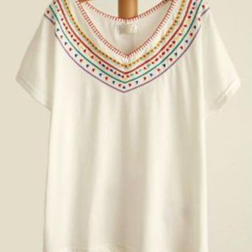 Bohemian Embroidery Batwing T-shirt For Her5