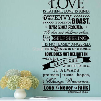 Love Is Patient Kind Quote Wall Art DIY Home Decoration Decor Wa