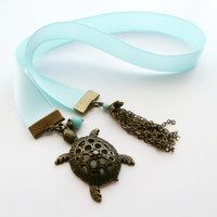 Turtle Bookmark, Teacher Gift, Satin Ribbon Bookmark, Booklover Gift, Gift for Reader, Book Club Gift, Light Blue Bookmark, Bronze Turtle