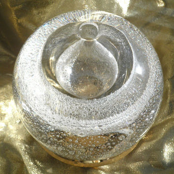 1980's Hand Blown Crystal Art Glass Snowball Vase/Oil Lamp/Paperweight