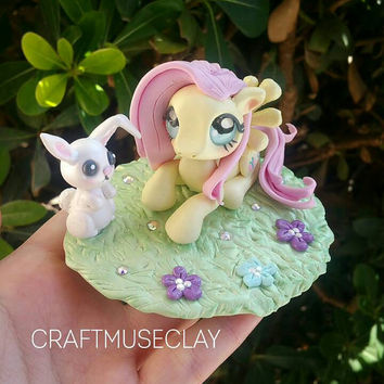 Fluttershy and angel bunny polymer clay figures//my little pony//gifts for her//kawaii//collectible