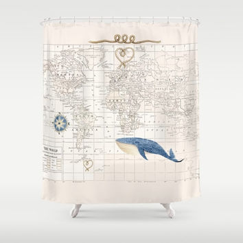 World Map with Whale Shower Curtain - compass rose, historical map, - Blue and cream Decor - Bathroom - travel, kids, coastal, nautical