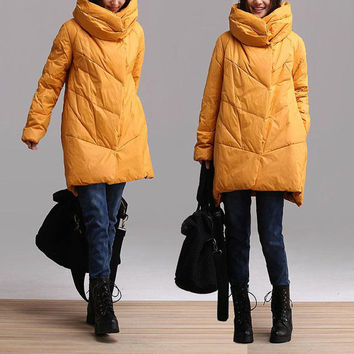 Yellow lantern jacket warm winter long section / casual fashion winter duck down collar loose clothing