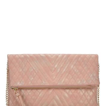 Blush Metallic Quilted Crossbody Clutch (final sale)