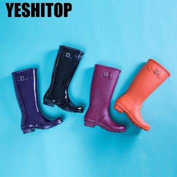 Spring Autumn 4 Colors Women Knee High Rain Shoes Waterproof Rubber Boots